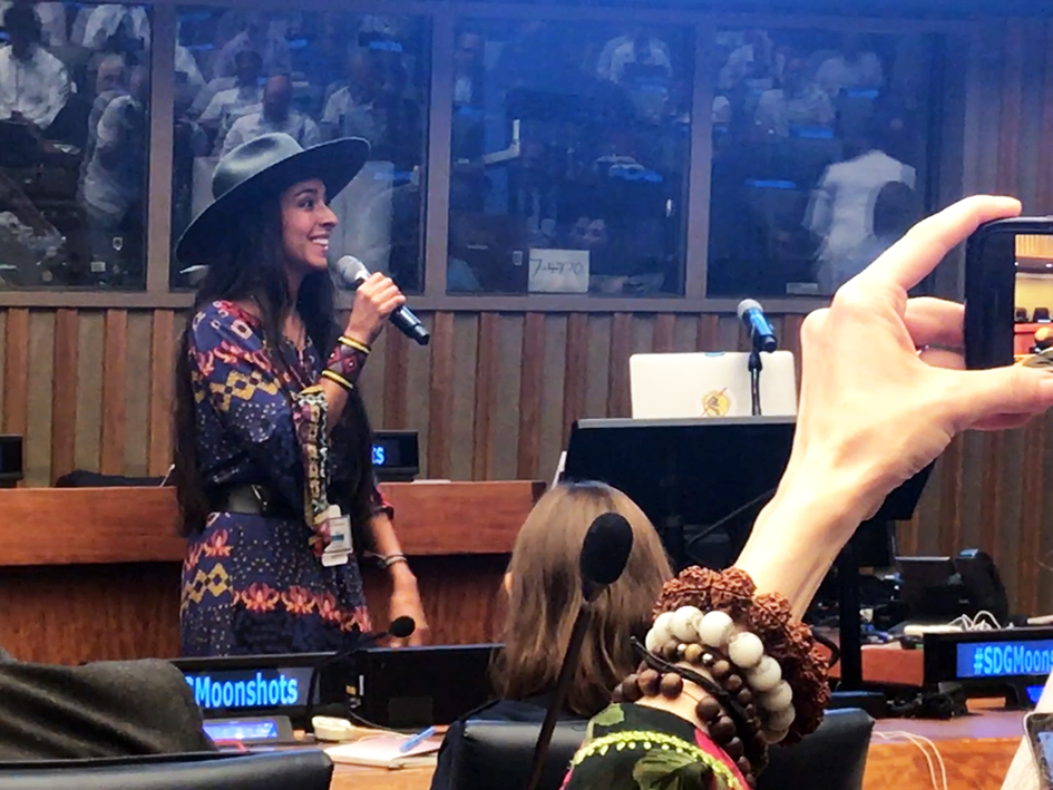 Oona Chaplin at the Novus Summit at the United Nations in New York - July 20, 2019